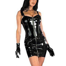 New Sexy Wetlook Lleather Women Clubwear Clothing Tube Dress Zipper Front with Buckled Sleeveless PVC Leather Dress