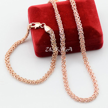 5mm Mens Womens Jewelry  Set Solid  Rose Gold Color Filled Link Chain Necklace Bracelets Jewelry Sets