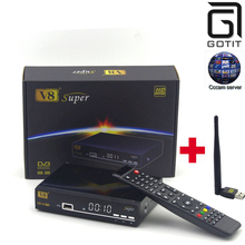 Freesat V8 Super DVB-S2 Satellite Receiver with 1 Year Europe Cccam 4clines Full HD 1080P and USB WIFI Spain French UK Germany