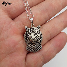 Elfin 2017 Trendy Tiger Necklace Antique Silver Plated Animal Jewellery Pendant Necklace Women steampunk