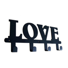 Letter Series LOVE Robe Hook Original Design 4 Hooks Coat/Hat/Bag Unique Style Wall Hanger Decor Free Shipping(China)