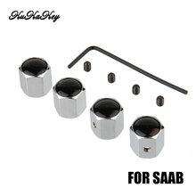 4PCS/lot Anti-theft Car Badge Wheel Tire Valve Caps Tyre Dust Cap For For SAAB 9-3 9-5 9000 Badge Car Logo Key rings Keychain