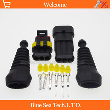 Sample,2 sets 3 Pin AMP Auto HID Connectors+sheath(2 pcs) sets for HEV/EV Start/Stop/Inverter Systems etc.