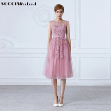 SOCCI Tulle Lace Appliques Short Cocktail Dresses Zipper Back A-line Formal Wedding Party Dress Pearls Beading Reception Gowns(China)