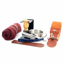 ZY 8Pcs Men Shaving Set Straight Razor Leather Strop Shaving Bowl Stand Soap Towel And Ring
