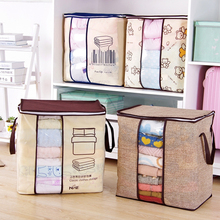Hot Non-Woven Family Save Space Organizador Bed Under Closet Storage Box Clothes Divider Organiser Quilt Bag Holder Organizer(China)