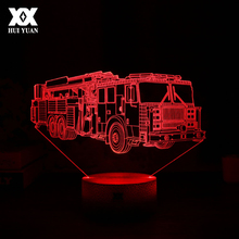 HUI YUAN Fire Truck 3D Lamp 7 Color USB Decorative Table Lamp LED Sleep Lights Children Christmas Gift Advertising Lights(China)