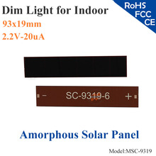 93x19mm 2.2V 20uA dim light Thin Film Amorphous Silicon Solar Cell ITO glass for indoor Product,calculator,toys,0-1.5V battery(China)