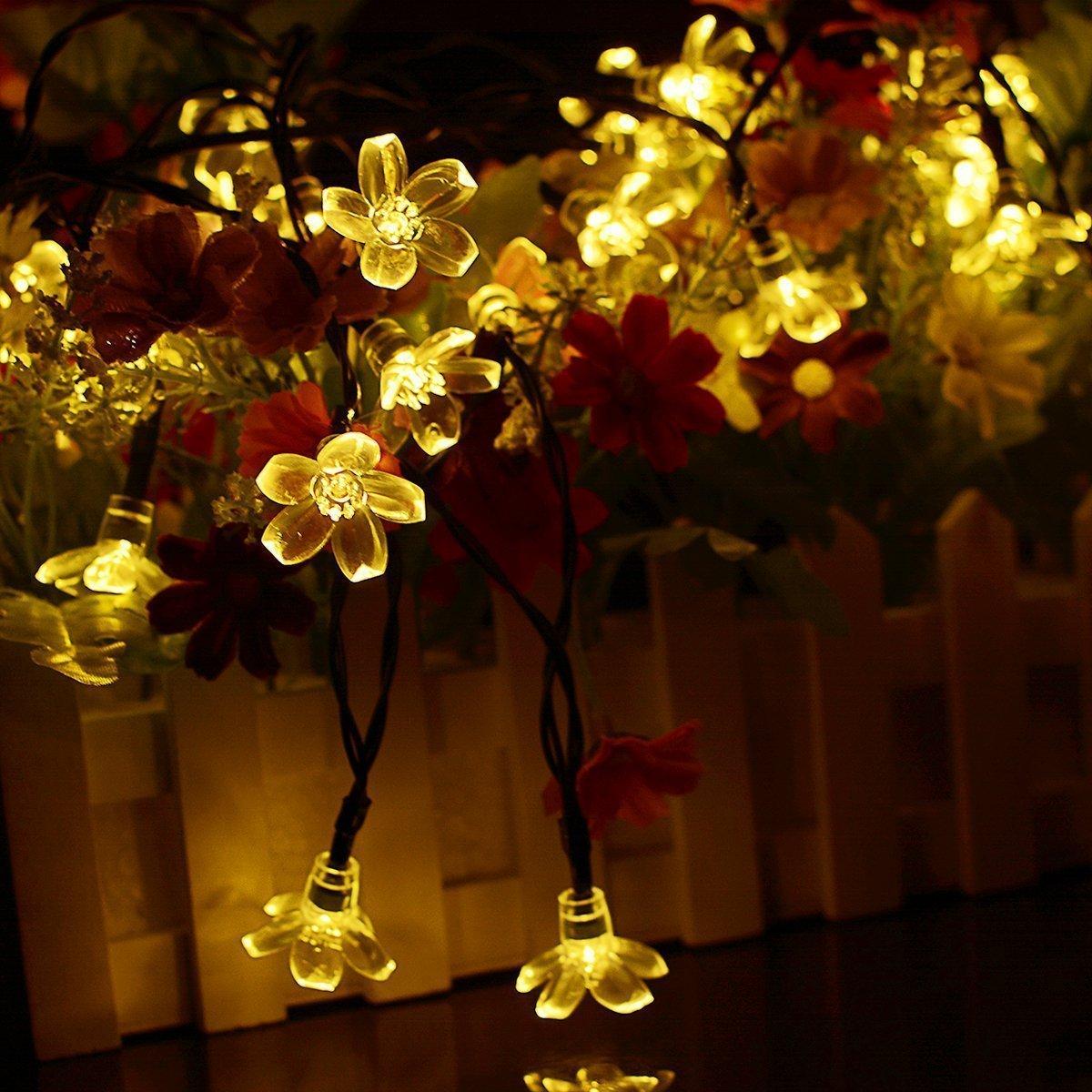 Dcoo Solar String Lights 50 LEDs Fairy Flower Blossom Christmas Fairy Party Lights Outdoor Lighting Strings Garden Solar Lights