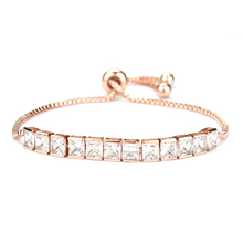 Rose Gold Color Plated Square Cubic Zirconia Crystal CZ Zircon Adjustable Bracelets or Anklet for Girls or Women or Wedding