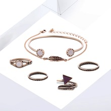 2017 New Products Alloy Bracelet Rings Set Mosaic Rhinestone Gold Silver Jewelry Premium Set Accessories