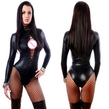 Buy Black Line Mesh Bandage Latex Wetlook Catsuit Gothic Faux Leather Bodysuit Cat Women Fetish PVC Teddy Clubwear Costume