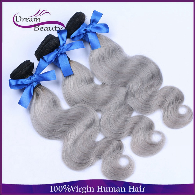 New Arrival 7A Grade brazilian Virgin Omber Hair 3Pcs Lot Silver Gray Hair Extensions body wave Grey Hair Weaving 8--30<br><br>Aliexpress