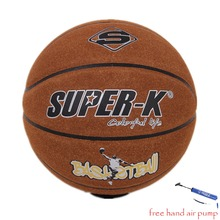 SUPER-K New Official Size 7 Genuine cow Leather Basketball Indoor Game Ball Basketball Balls+ free Hand Air Pump(China)