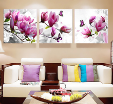 3pcs Print poster canvas Wall Art pink orchids Decoration art oil painting Modular pictures on the wall sitting room(no frame)(China)