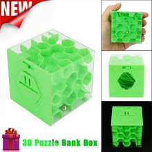 New 3D Cube Puzzle Money Maze Bank Saving Coin Collection Case Box Fun Brain Game(China)