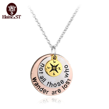 "2016 Hot ! hand stampe Jewelry Inspired Jewelry ""not all those who"" Compass necklace Graduation Necklace Graduation Gift(China)"