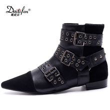 Daitifen Studded Genuine Leather Women Ankle Boots Pointed Toe Buckle Strap Rivets Flat Riding Boots Runway Shoes Woman Black(China)