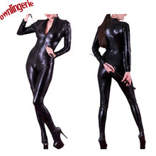 Free Shipping Online Women Erotic Lingerie Catsuit,Black Vinyl Cheap Zip to Navel Clubwear Bodysuit Clothing(China)