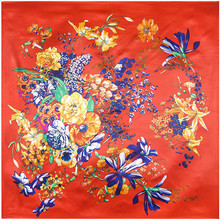 New Spring 90x90cm Fahion Style Flowers Paint Silk Scarf Women Scarf fashion NeckerChief Bandana Large Square Office Lady Gift(China)