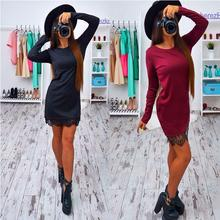 2017 Autumn Lace Patchwork Women Dress Fashion O-neck Long Sleeve Black Red Elegant Dresses Casual Bodycon vestidos Plus size