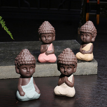 1 PCS Small Buddha statue monk figurine tathagata India Yoga Mandala tea pet purple ceramic crafts decorative ceramic ornaments(China)