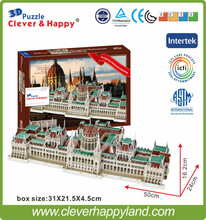2014 new clever&happy land 3d puzzle model Hungarian Parliament Building handmade adult puzzle diy model for boy paper(China)