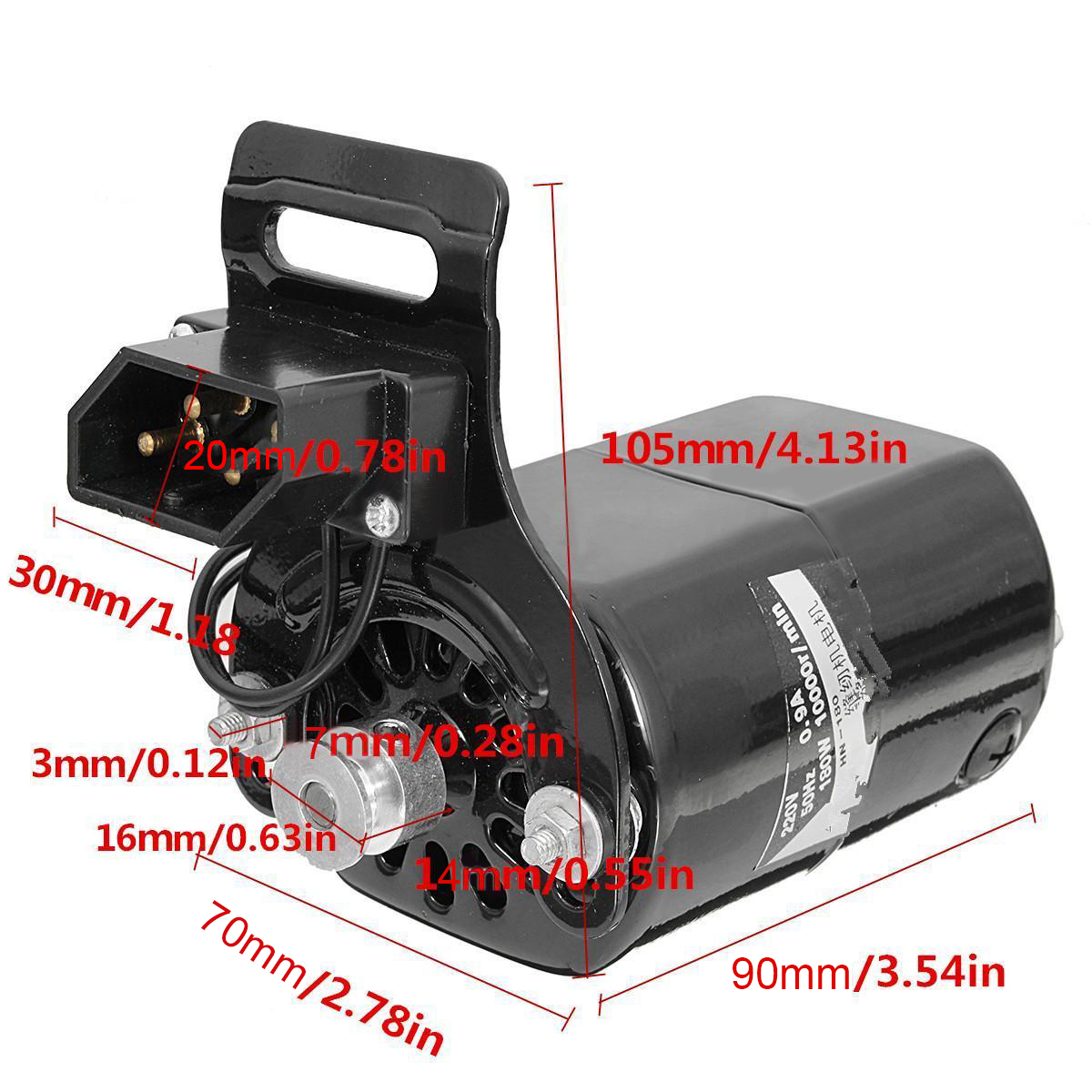 New Black Domestic Household Sewing Machine Electric Motor 220V AC 180W 0.9A 5000 rpm + Low Noise Speed Pedal Controller Mayitr