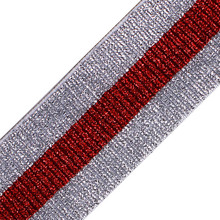5yards Shiny Silver Red Elastic Stretch Ribbon Tape Band Belt Triming Clothing Decorated DIY Garment Sewing Accessories T2539