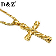 D&Z Vintage Men Gold Color Crucifix Necklace Weaving Cross Stainless Steel Pendents Necklaces for Men Jewelry(China)