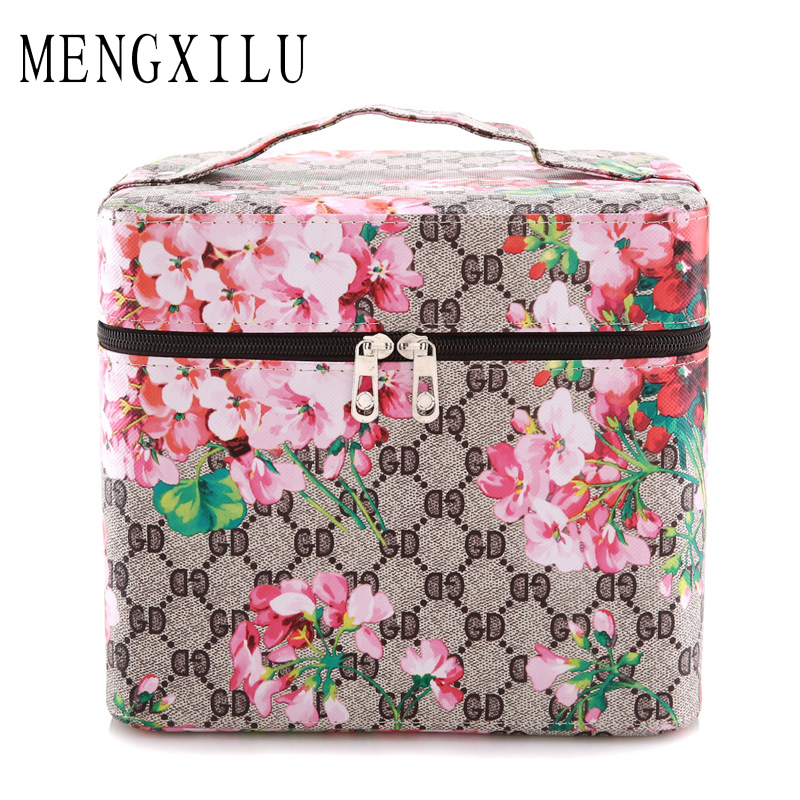 MENGXILU women Cosmetic Bag Flower Makeup Square Storage Box Make Up Organiser Container waterproof Toiletry Travel Makeup Bag<br>