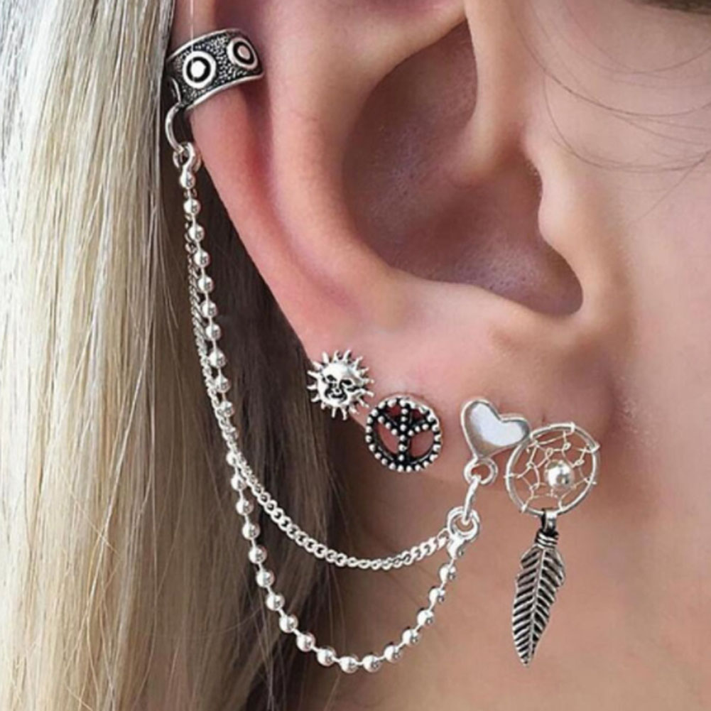 4 Pcs/Set Punk Earrings Love Chain Earring  Set Earrings Zinc Alloy Earrings For Women