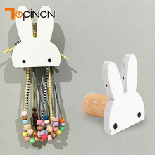 Rabbit Wood Hook Coat Hooks Wall Hanger Decorative Kids Children Baby Room Wooden Hook Home Organization Organizer And Storage(China)