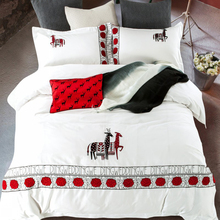 Luxury Deer Pattern White Queen King Size 4Pcs Bedding Set Embroidery Technics Egyptian Cotton Bedlinens Duvet Cover Sets(China)