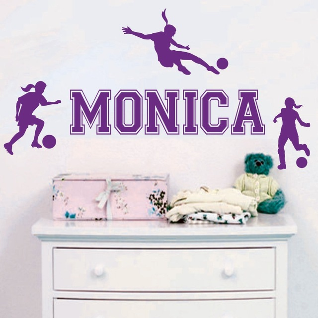 Personalized Name Girls Football Players Sport Wall Sticker Home Room Art Decor Wall Decals Removable Vinyl Wall Mural Y-669(China (Mainland))