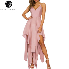 Buy Lily Rosie Girl Shoulder V Neck Pink Asymmetrical Dress Women Summer Sexy Backless Party Strap Maxi Long Dresses Vestidos for $21.99 in AliExpress store