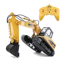HuiNa 1550 RC Crawler Kit 15 Channel 2.4G 1/14 RC Metal Excavator Charging RC Car With Battery RC Alloy Excavator RTR For kids(China)