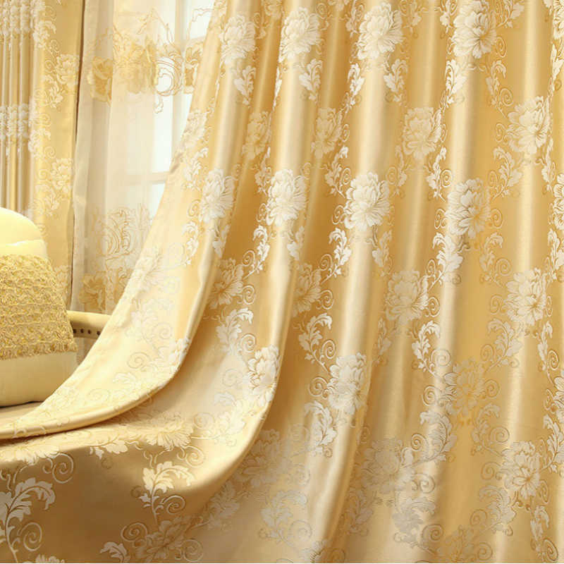 Luxury Curtains Set Jacquard Tulle curtains for Living room Cloth Fabric Blackout Curtains for Bedroom home decor Drapes