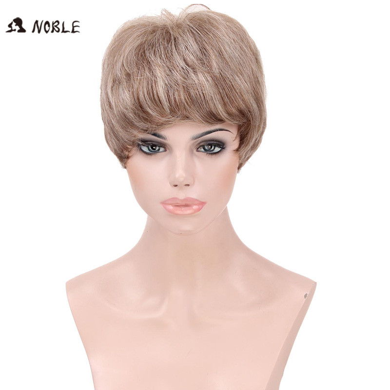 Noble Blended Wig for White Beauty , Blond Lace Wigs Shot Hair White Women ,9 inch Natural Wave Peruca, Wigs Curly Blonde brown<br><br>Aliexpress