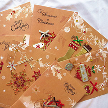 Craft Paper Card Merry Christmas Card Greeting Card With Envelope Kids Gift Postcard Stationery 19*13cm(China)