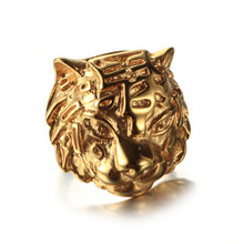 Wholesale website China Supplier Stainless Steel Gold Silver Plated Luxury Animal Heads Ring(China)
