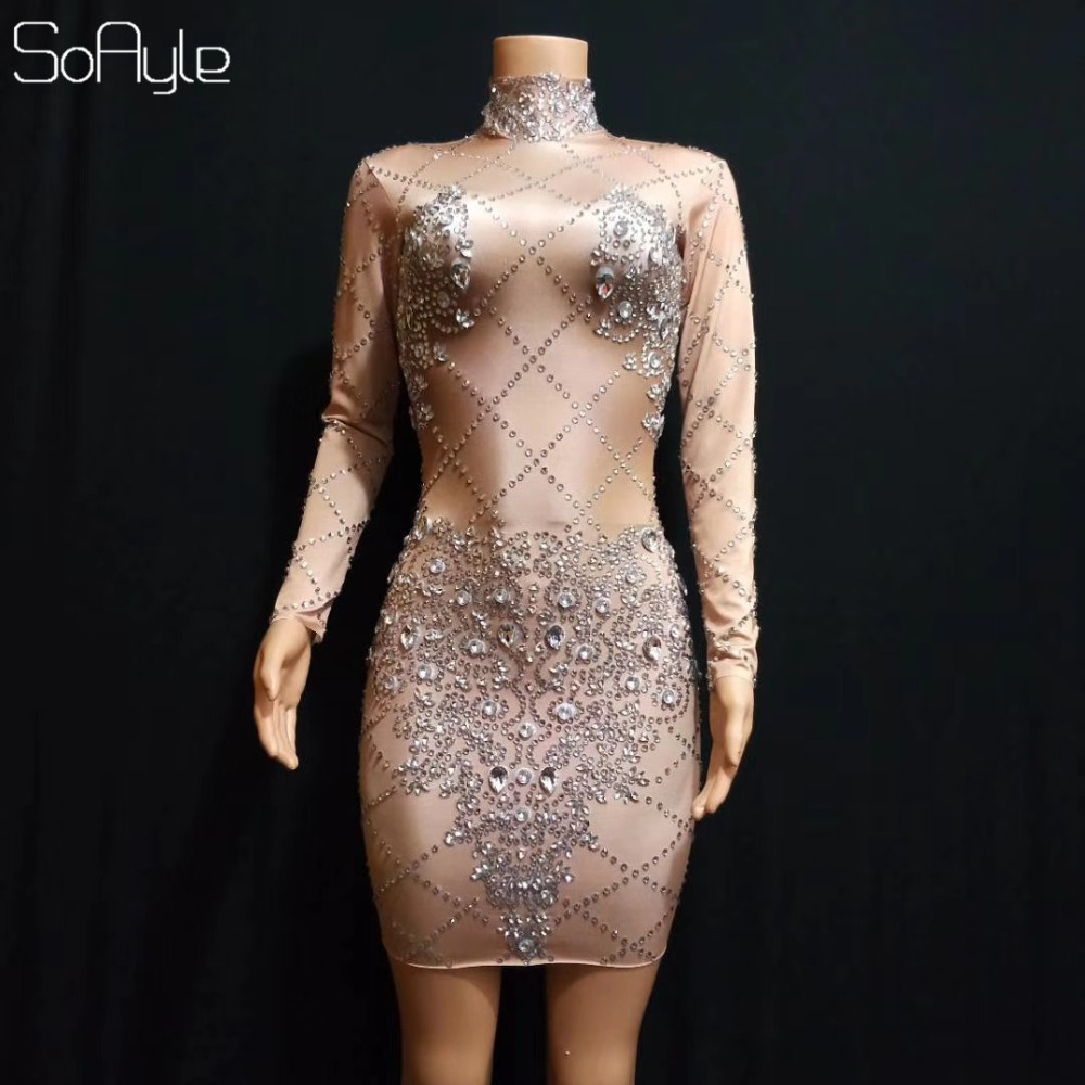 SoAyle 2019 Nightclub Female Singer Prom Wear Dj Rhinestone Stretch Short Tight Party Celebrate Dress Dance Stage Adult Costume