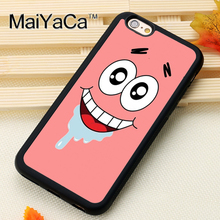 MaiYaCa Patrick Star SpongeBob Phone Cases For iPhone 6 6s Coque Case Black Rubber Soft TPU Drawing Phone Case Back Cover(China)