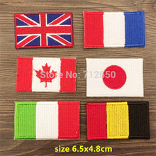 new arrival mixed 12 pcs 6 styles national flags Embroidered patches iron on cartoon Motif Applique embroidery accessory(China)