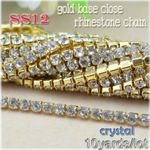 garment 10yards/lot not rust shiny clear crystal white SS12 copper gold base rhinestone chain