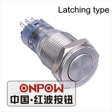 ONPOW 16mm Metal Super Flat actuator Latching on-off Stainless steel Push Button Switch (LAS2GQPF-Z/S) CE,RoHS(China)