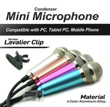 3.5mm Audio Plug Wired Mini Microphone Portable Stereo Condenser Mic for Chatting/Karaoke/PC/Phone/Ipad etc with Lavalier Clip(China)