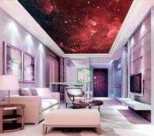 Free Shipping Red Nebula star wallpaper universe theme ceiling wallpaper HD romantic large mural wallpaper