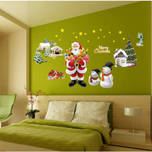 Creative wall decals Christmas Decoration Window Decal Wall Stickers bedroom christmas decorations Wall Sticker vinilos paredes(China)