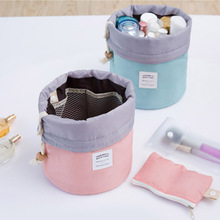Barrel Shaped Travel Drawstring Cosmetic Bag Make up Bag Cosmetic Organizer Storage Bags Necessaries for Women Makeup(China)